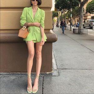 ZARA   Lime Green Tie Up Summer Heel Sandals